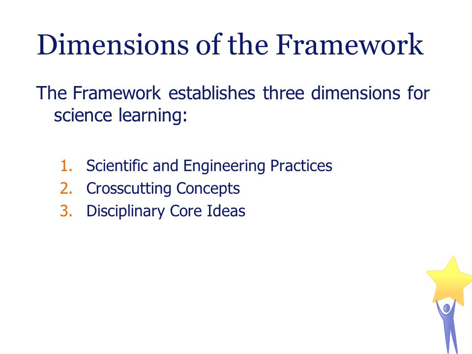 Dimensions of the Framework The Framework establishes three dimensions for science learning: 1.Scientific and Engineering Practices 2.Crosscutting Concepts 3.Disciplinary Core Ideas