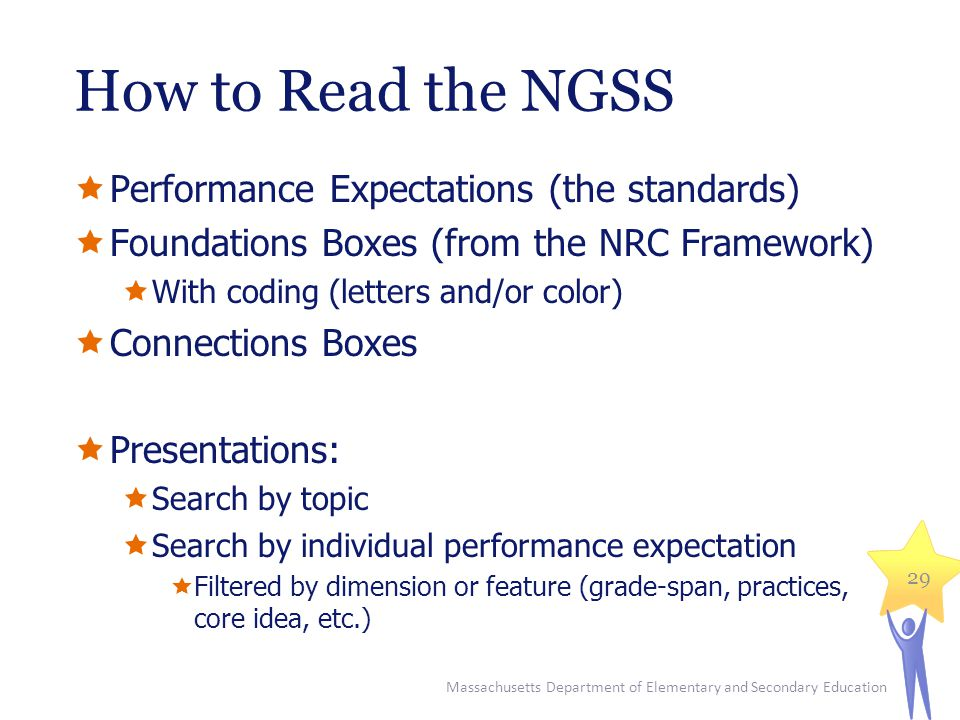 How to Read the NGSS  Performance Expectations (the standards)  Foundations Boxes (from the NRC Framework)  With coding (letters and/or color)  Connections Boxes  Presentations:  Search by topic  Search by individual performance expectation  Filtered by dimension or feature (grade-span, practices, core idea, etc.) Massachusetts Department of Elementary and Secondary Education 29