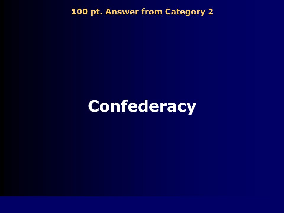 100 pt. Question from Category 2 Government formed by the 11 seceding states
