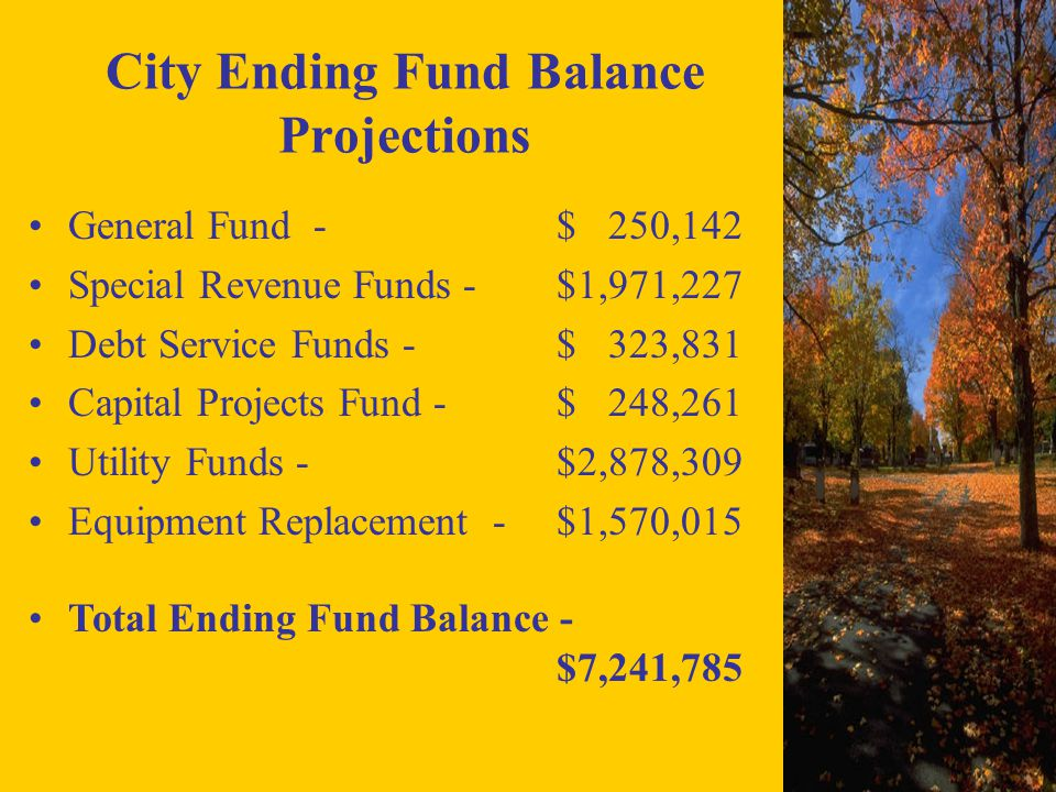 City Ending Fund Balance Projections General Fund - $ 250,142 Special Revenue Funds - $1,971,227 Debt Service Funds - $ 323,831 Capital Projects Fund - $ 248,261 Utility Funds - $2,878,309 Equipment Replacement -$1,570,015 Total Ending Fund Balance - $7,241,785