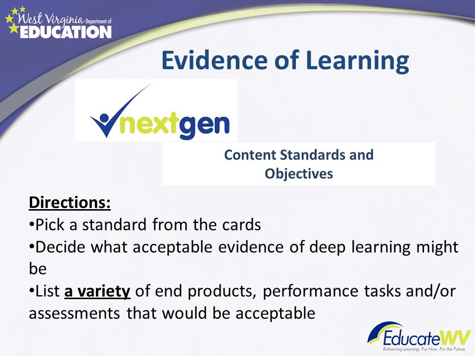 Evidence of Learning Content Standards and Objectives Directions: Pick a standard from the cards Decide what acceptable evidence of deep learning might be List a variety of end products, performance tasks and/or assessments that would be acceptable