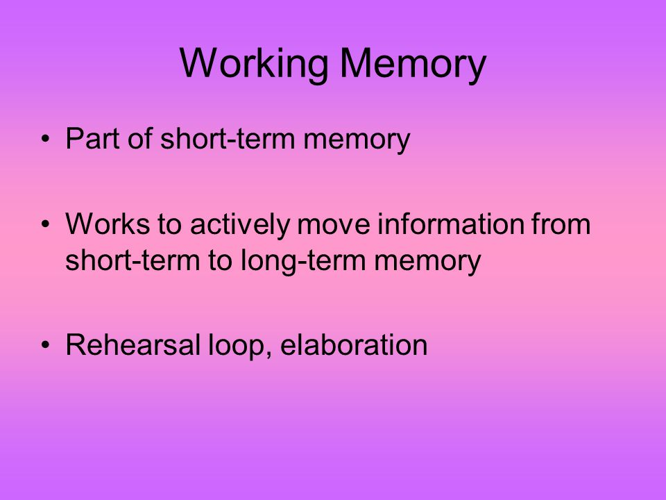 Working Memory Part of short-term memory Works to actively move information from short-term to long-term memory Rehearsal loop, elaboration