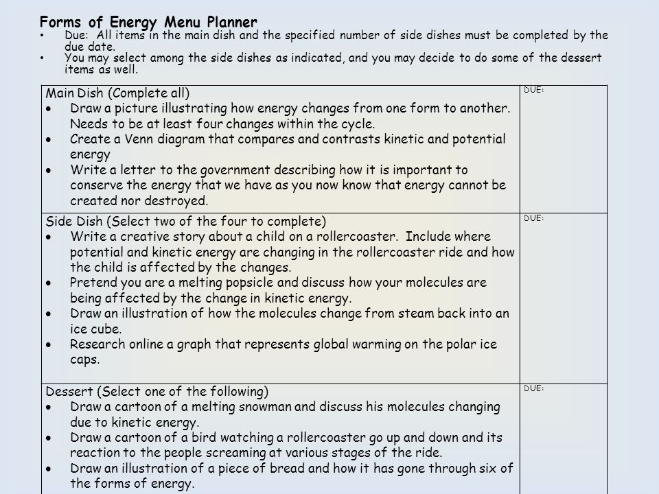Forms of Energy Menu Planner Due: All items in the main dish and the specified number of side dishes must be completed by the due date. You may select