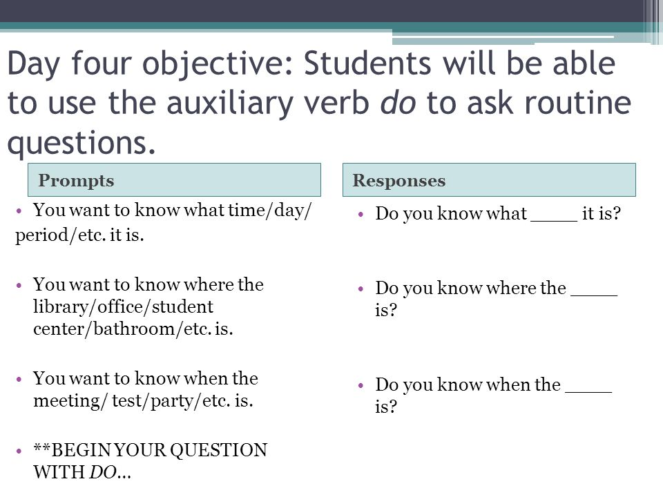 Day four objective: Students will be able to use the auxiliary verb do to ask routine questions.