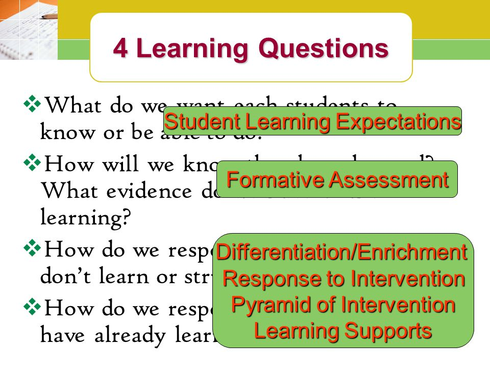4 Learning Questions  What do we want each students to know or be able to do.