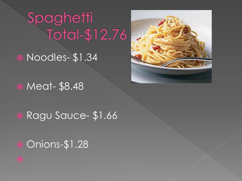  Noodles- $1.34  Meat- $8.48  Ragu Sauce- $1.66  Onions-$1.28 