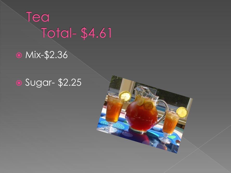  Mix-$2.36  Sugar- $2.25