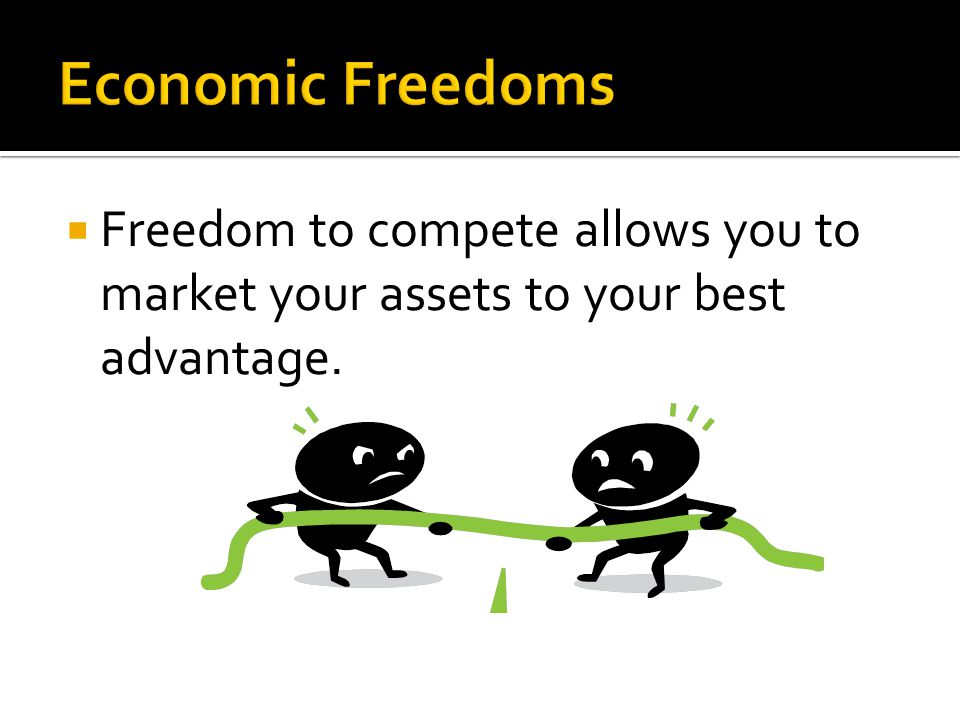  Freedom to compete allows you to market your assets to your best advantage.