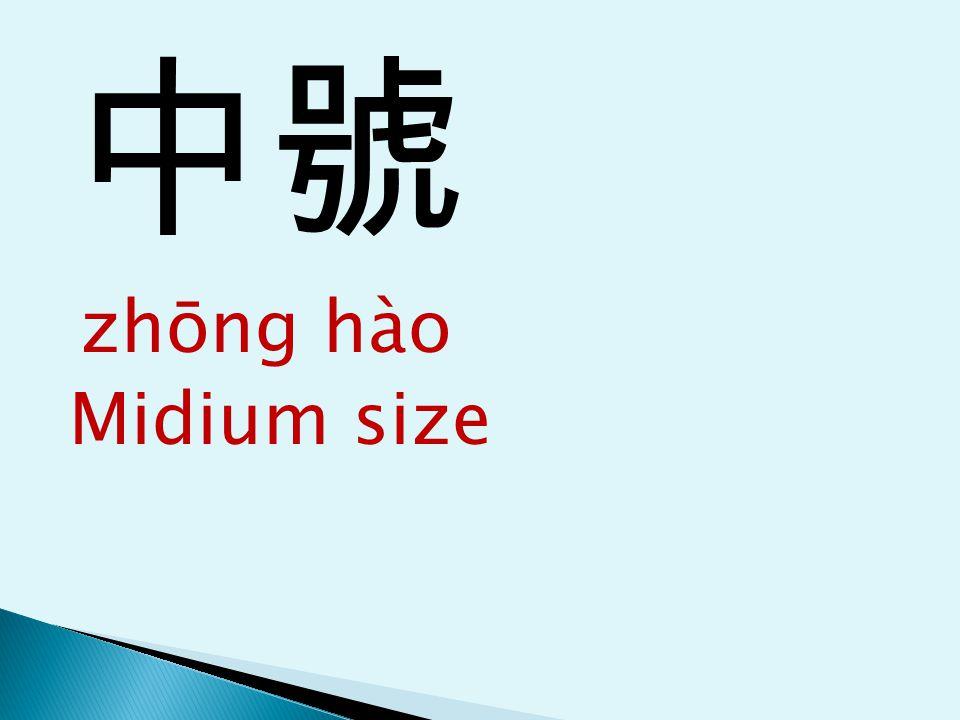 中號 zhōng hào Midium size