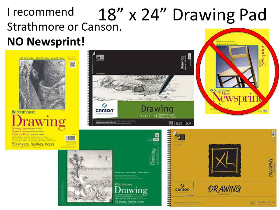 Drawing Pencils Drawing/Sketching Pencils – HB, 2B, 4B, 6B, etc. Minimum of 4 pencils.