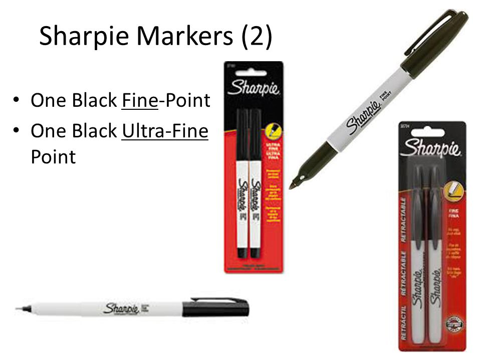 Sharpie Markers (2) One Black Fine-Point One Black Ultra-Fine Point