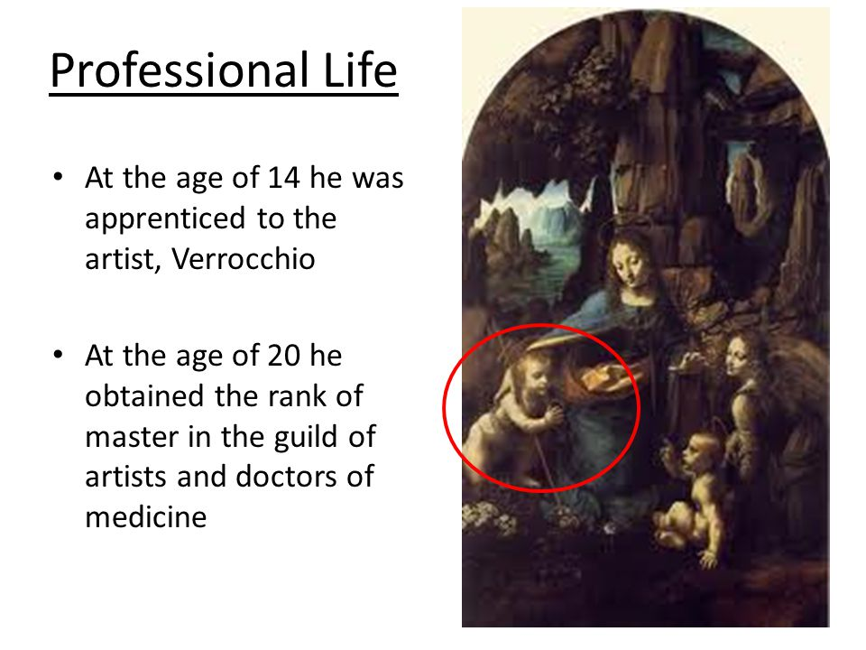 Professional Life At the age of 14 he was apprenticed to the artist, Verrocchio At the age of 20 he obtained the rank of master in the guild of artist