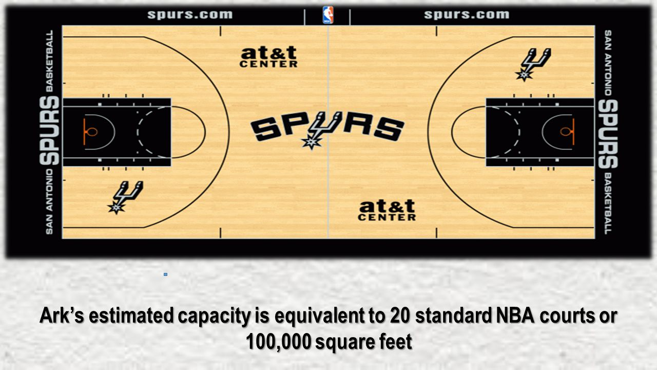 Ark's estimated capacity is equivalent to 20 standard NBA courts or 100,000 square feet