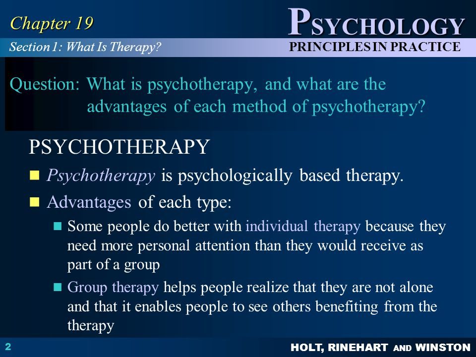 HOLT, RINEHART AND WINSTON P SYCHOLOGY PRINCIPLES IN PRACTICE 3 Chapter 19 Question: What are the major techniques of psychoanalysis.