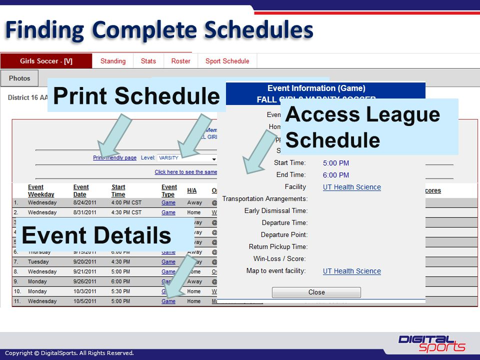 Copyright © DigitalSports. All Rights Reserved. Finding Complete Schedules Select Level Print Schedule Access League Schedule Event Details