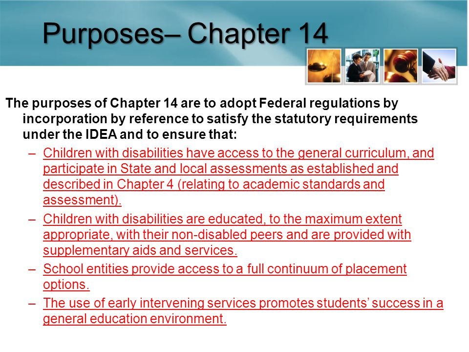 Purposes– Chapter 14 The purposes of Chapter 14 are to adopt Federal regulations by incorporation by reference to satisfy the statutory requirements under the IDEA and to ensure that: –Children with disabilities have access to the general curriculum, and participate in State and local assessments as established and described in Chapter 4 (relating to academic standards and assessment).