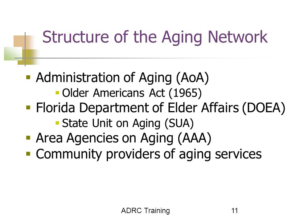 ADRC Training 11  Administration of Aging (AoA)  Older Americans Act (1965)  Florida Department of Elder Affairs (DOEA)  State Unit on Aging (SUA)  Area Agencies on Aging (AAA)  Community providers of aging services Structure of the Aging Network