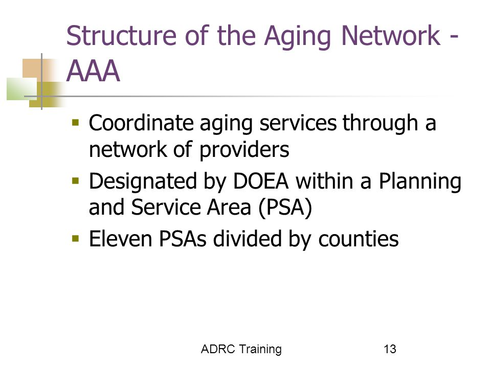 ADRC Training 13 Structure of the Aging Network - AAA  Coordinate aging services through a network of providers  Designated by DOEA within a Planning and Service Area (PSA)  Eleven PSAs divided by counties