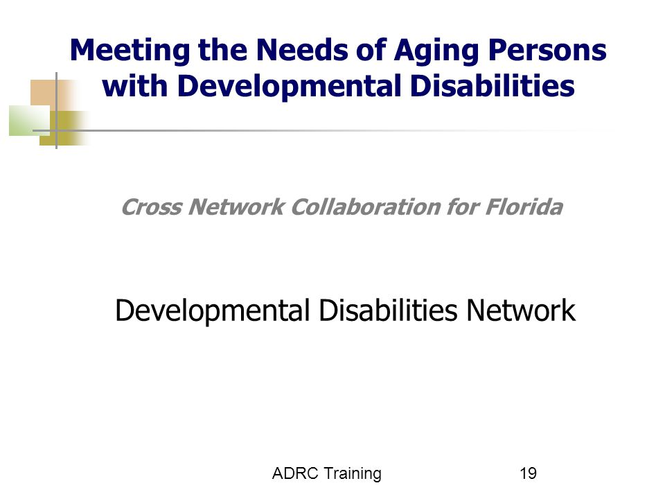 ADRC Training 19 Cross Network Collaboration for Florida Developmental Disabilities Network Meeting the Needs of Aging Persons with Developmental Disabilities