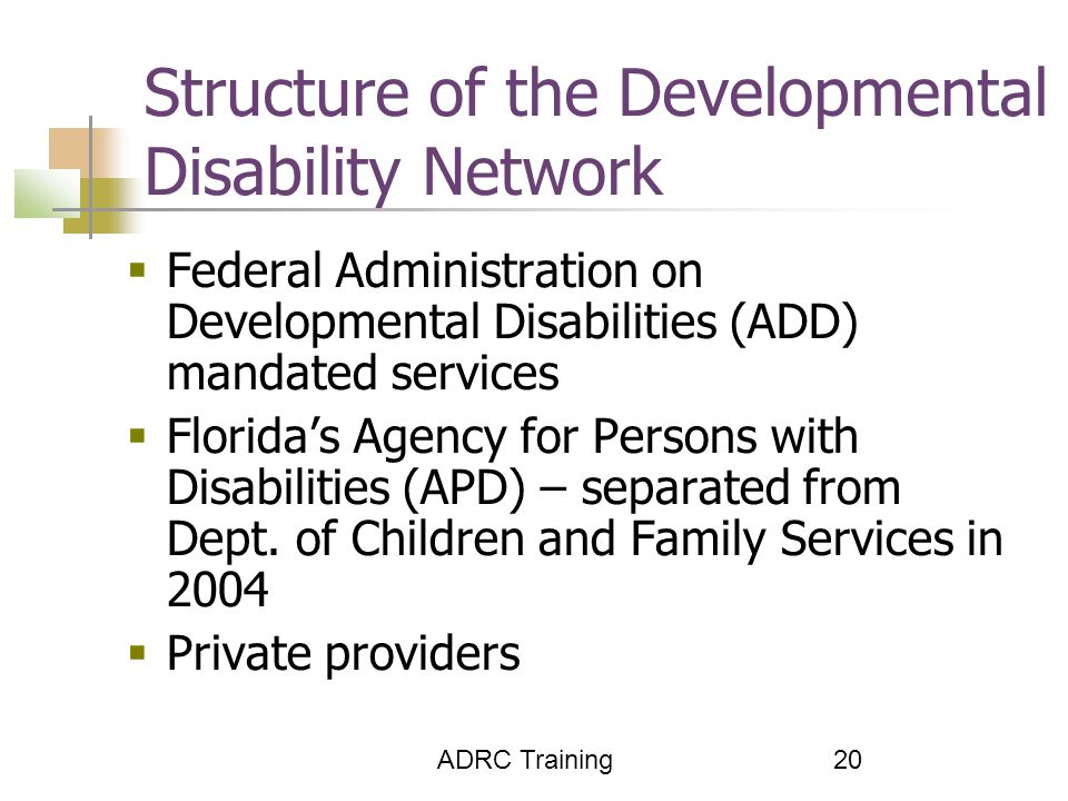 ADRC Training 20 Structure of the Developmental Disability Network  Federal Administration on Developmental Disabilities (ADD) mandated services  Florida's Agency for Persons with Disabilities (APD) – separated from Dept.