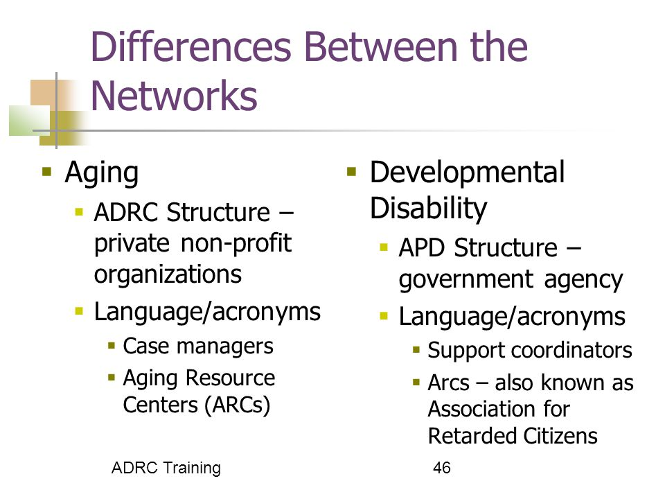 46 Differences Between the Networks  Aging  ADRC Structure – private non-profit organizations  Language/acronyms  Case managers  Aging Resource Centers (ARCs)  Developmental Disability  APD Structure – government agency  Language/acronyms  Support coordinators  Arcs – also known as Association for Retarded Citizens ADRC Training