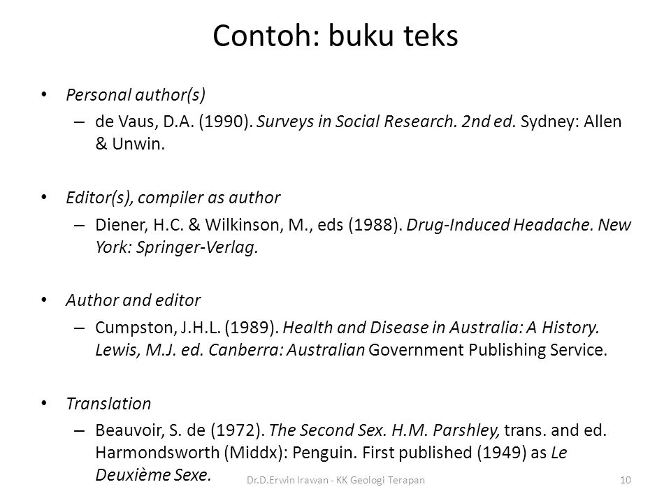 Contoh: buku teks Personal author(s) – de Vaus, D.A. (1990). Surveys in Social Research. 2nd ed. Sydney: Allen & Unwin. Editor(s), compiler as author