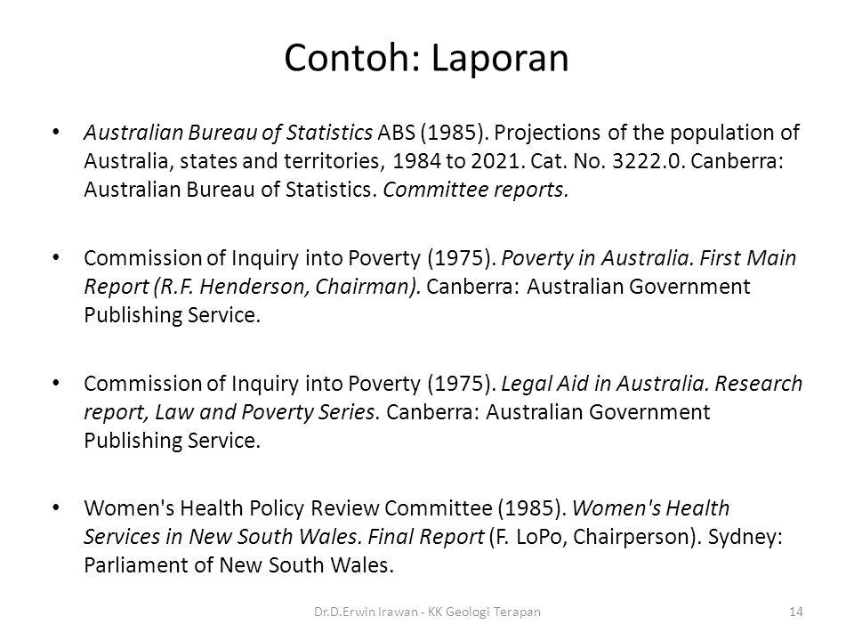 Contoh: Laporan Australian Bureau of Statistics ABS (1985).