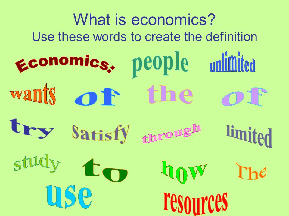 What is economics Use these words to create the definition
