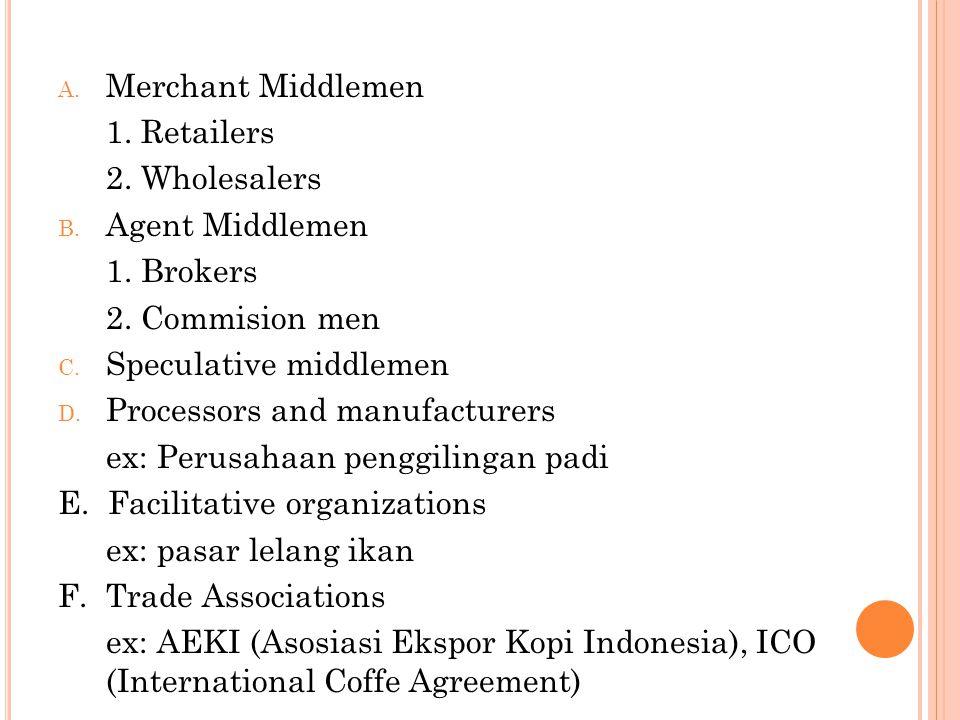 A. Merchant Middlemen 1. Retailers 2. Wholesalers B. Agent Middlemen 1. Brokers 2. Commision men C. Speculative middlemen D. Processors and manufactur