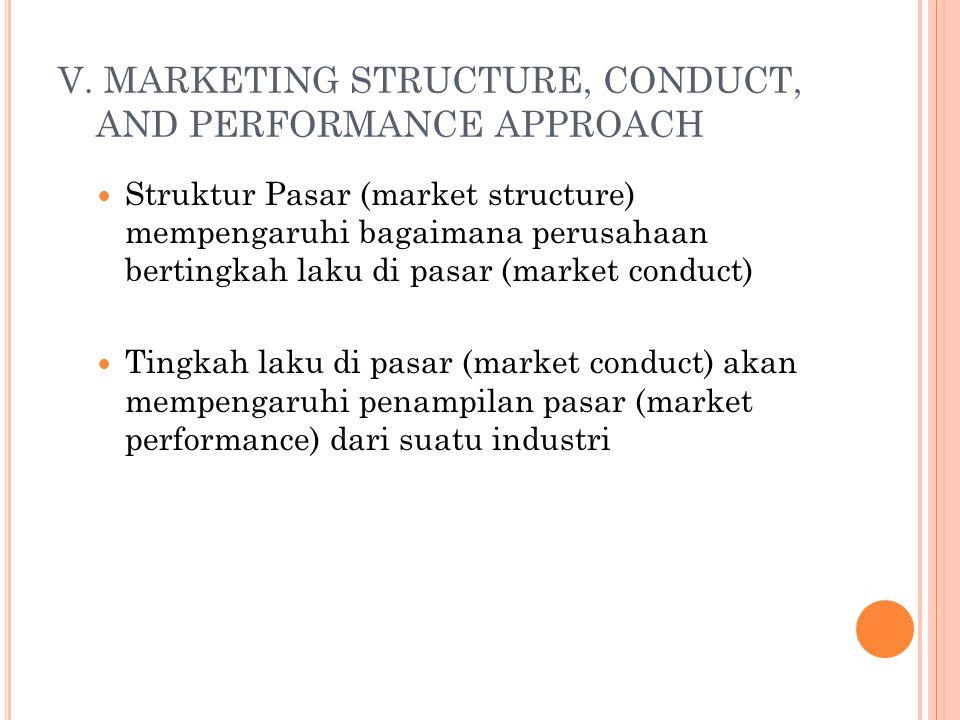 V. MARKETING STRUCTURE, CONDUCT, AND PERFORMANCE APPROACH Struktur Pasar (market structure) mempengaruhi bagaimana perusahaan bertingkah laku di pasar