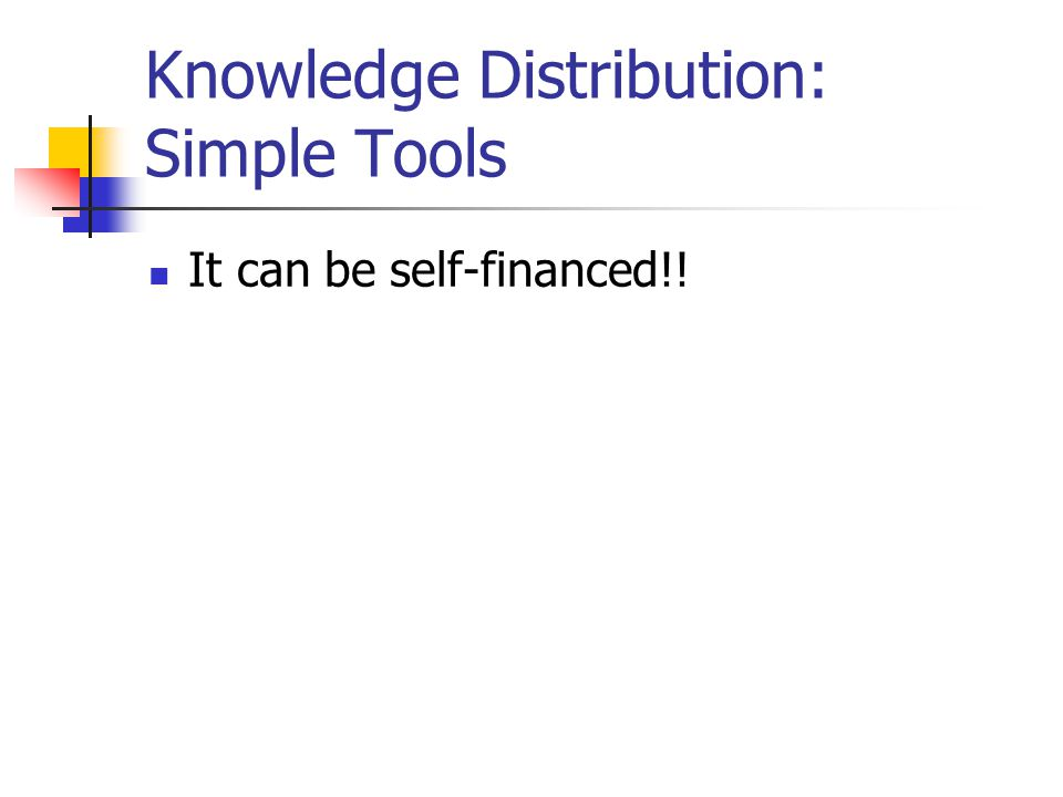 Knowledge Distribution: Simple Tools It can be self-financed!!