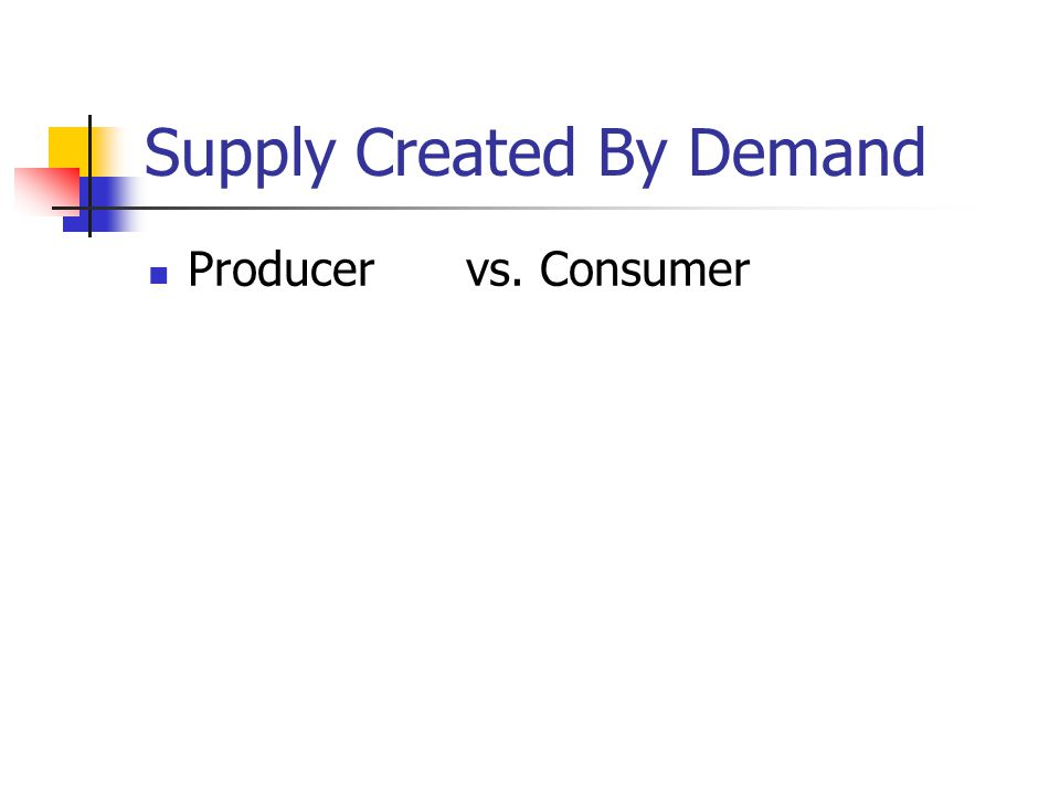 Supply Created By Demand Producervs. Consumer