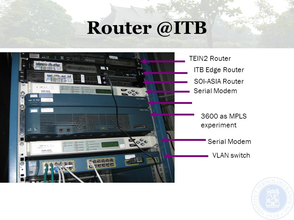 Router @ITB TEIN2 Router ITB Edge Router SOI-ASIA Router Serial Modem 3600 as MPLS experiment Serial Modem VLAN switch