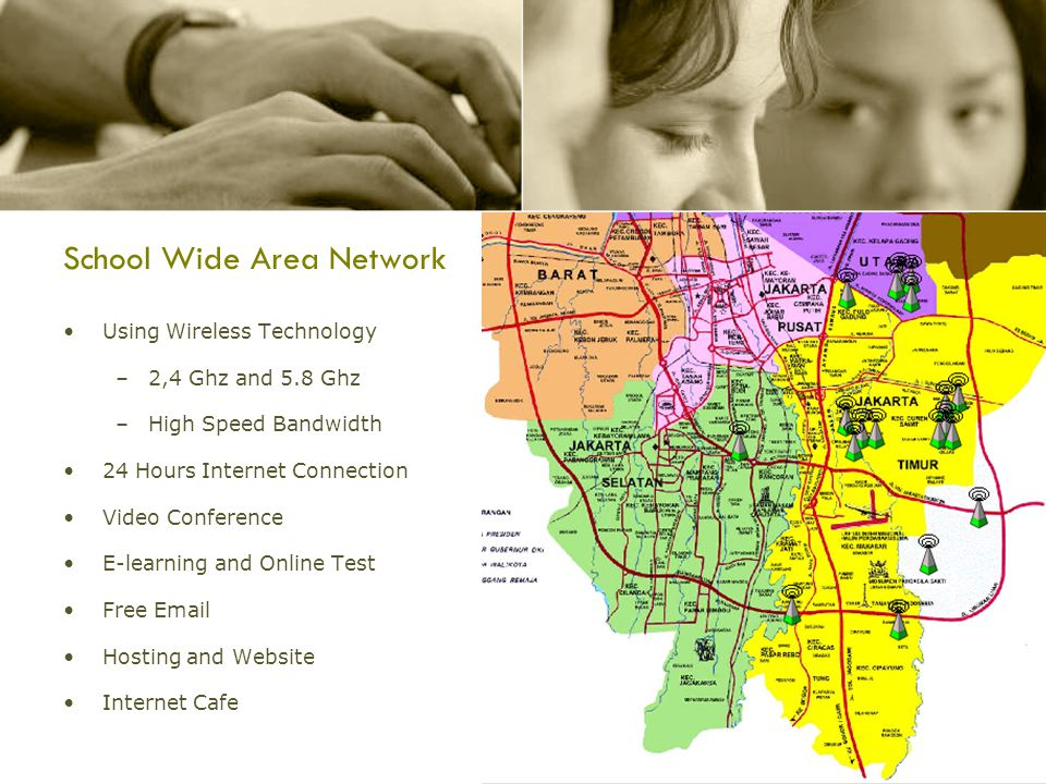 School Wide Area Network Using Wireless Technology –2,4 Ghz and 5.8 Ghz –High Speed Bandwidth 24 Hours Internet Connection Video Conference E-learning and Online Test Free Email Hosting and Website Internet Cafe