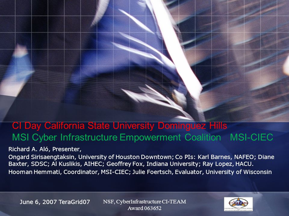 June 6, 2007 TeraGrid07 CI Day California State University Dominguez Hills MSI Cyber Infrastructure Empowerment Coalition MSI-CIEC Richard A.