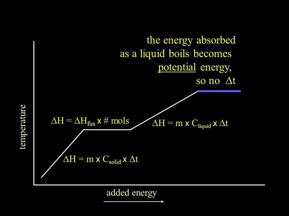 temperature added energy  H =  H fus x # mols the energy absorbed as a liquid boils becomes potential energy, so no  t  = m x C liquid x  t  = m x C solid x  t