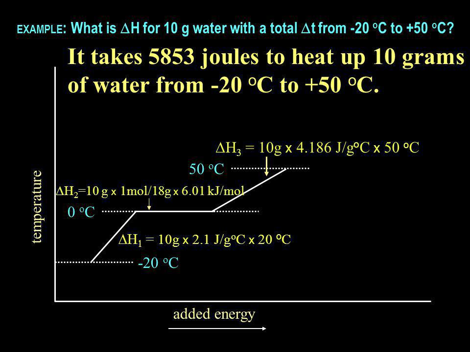 temperature added energy -20 o C 0 o C 50 o C   = 10g x 2.1 J/g o C x 20 o C  H 2 =10 g x 1mol/18g x 6.01 kJ/mol EXAMPLE : What is  H for 10 g water with a total  t from -20 o C to +50 o C.