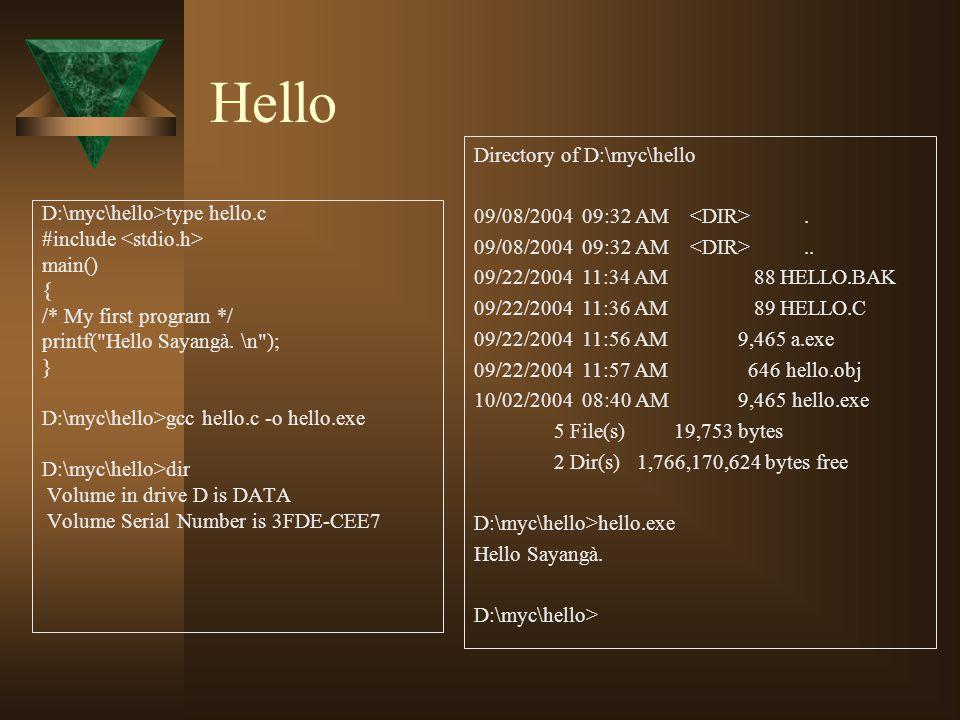 Hello D:\myc\hello>type hello.c #include main() { /* My first program */ printf(