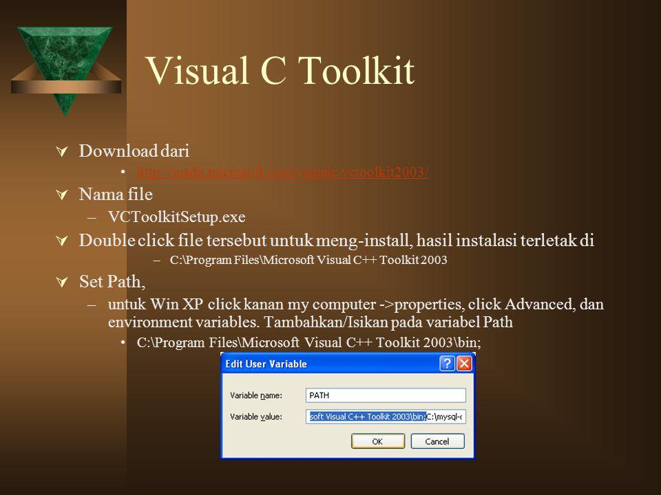 Visual C Toolkit  Download dari http://msdn.microsoft.com/visualc/vctoolkit2003/  Nama file –VCToolkitSetup.exe  Double click file tersebut untuk m