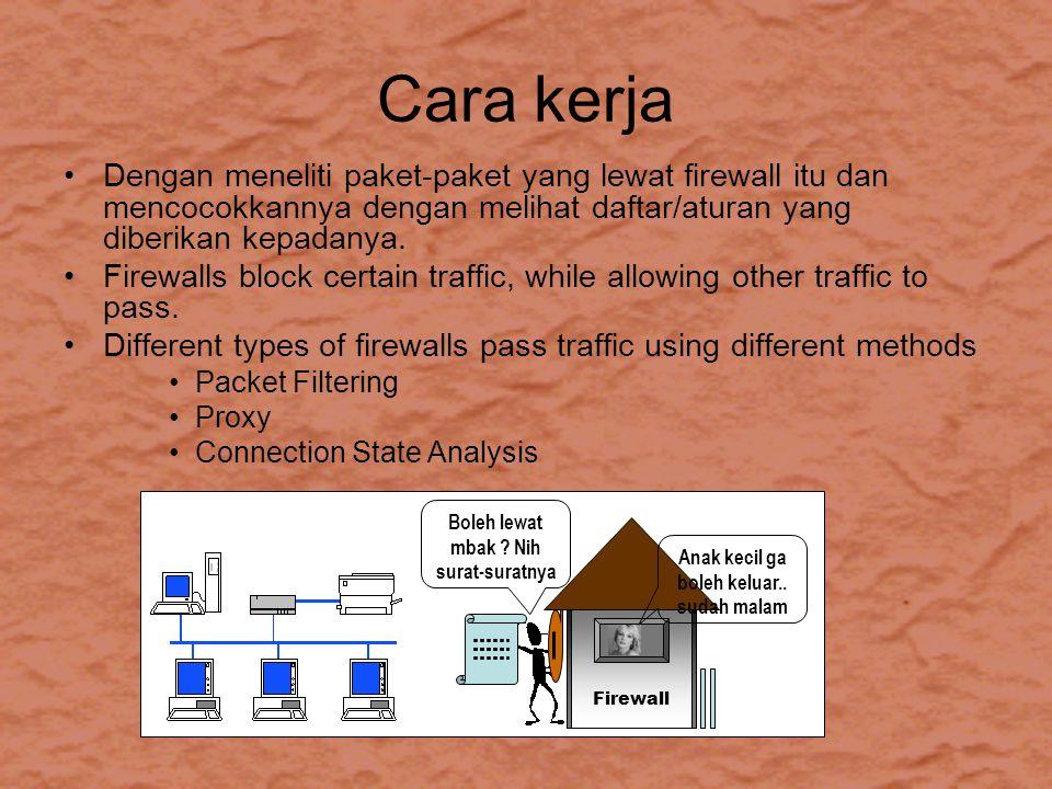 Cara kerja Dengan meneliti paket-paket yang lewat firewall itu dan mencocokkannya dengan melihat daftar/aturan yang diberikan kepadanya.