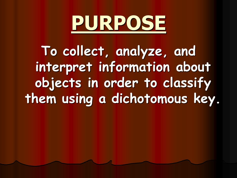 PURPOSE To collect, analyze, and interpret information about objects in order to classify them using a dichotomous key.