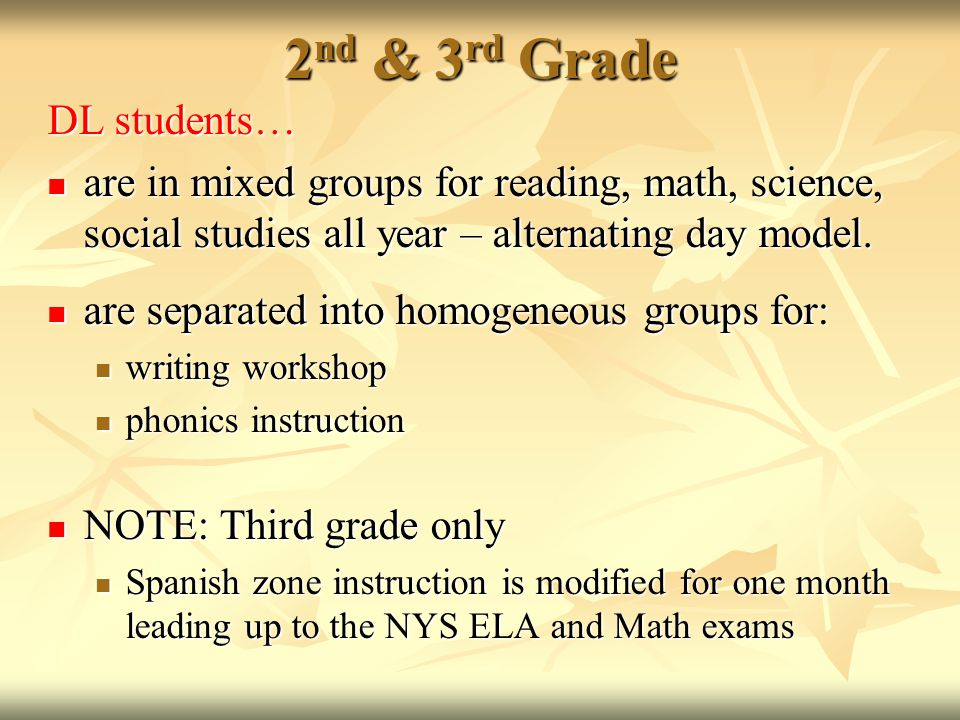 2 nd & 3 rd Grade DL students… are in mixed groups for reading, math, science, social studies all year – alternating day model.