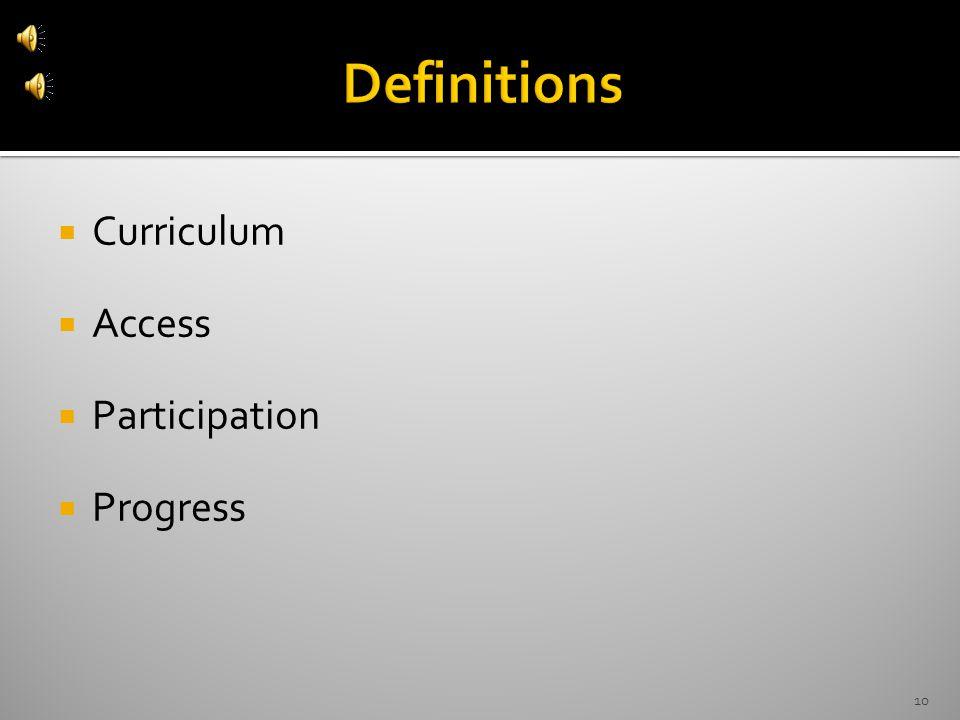  Curriculum  Access  Participation  Progress 10