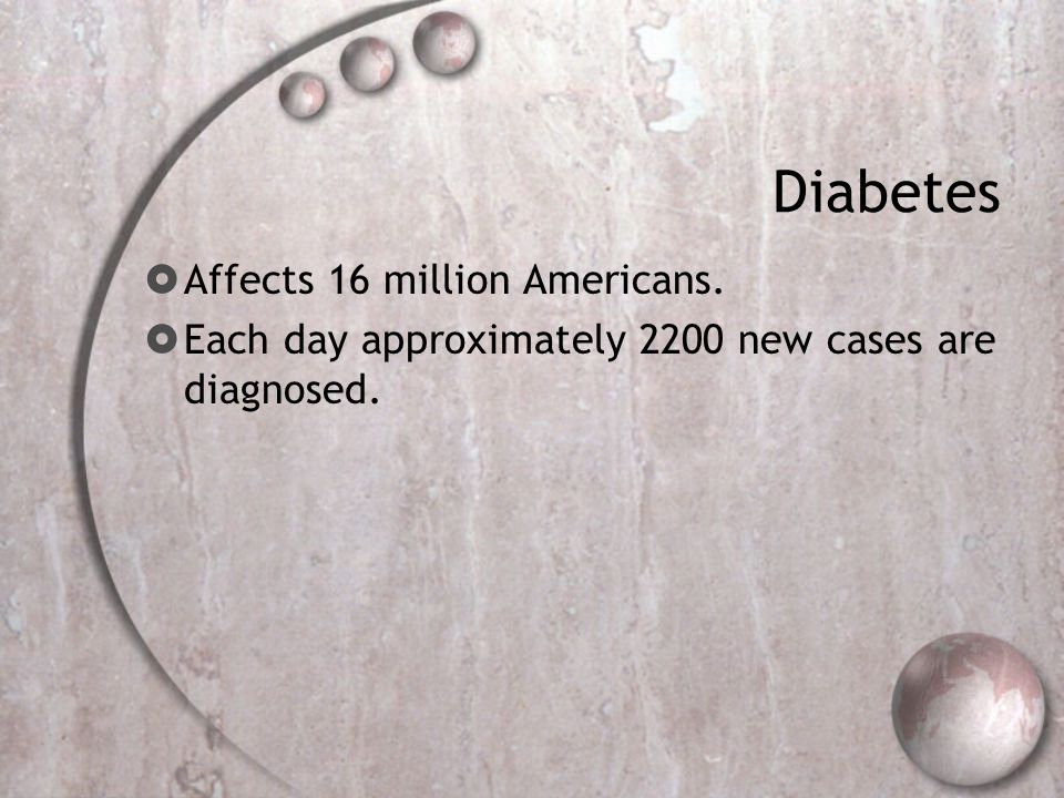 Diabetes  Affects 16 million Americans.  Each day approximately 2200 new cases are diagnosed.