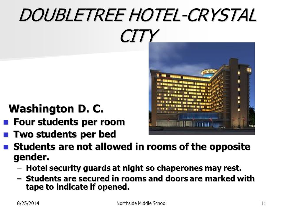 8/25/2014Northside Middle School11 DOUBLETREE HOTEL-CRYSTAL CITY Washington D.