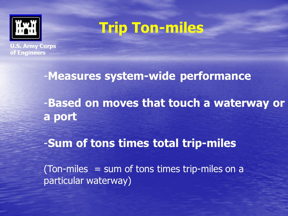 U.S. Army Corps of Engineers -Measures system-wide performance -Based on moves that touch a waterway or a port -Sum of tons times total trip-miles (To