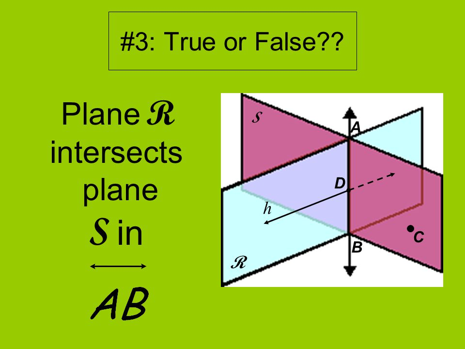 #3: True or False Plane R intersects plane S in R S D A B h C