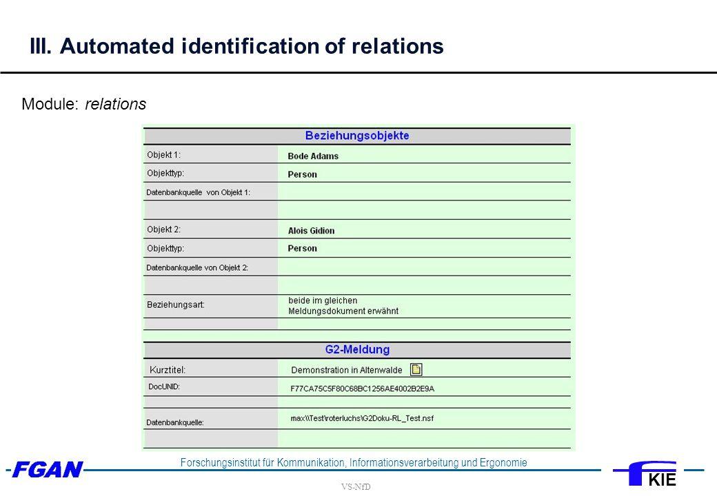 VS-NfD Forschungsinstitut für Kommunikation, Informationsverarbeitung und Ergonomie KIE III.