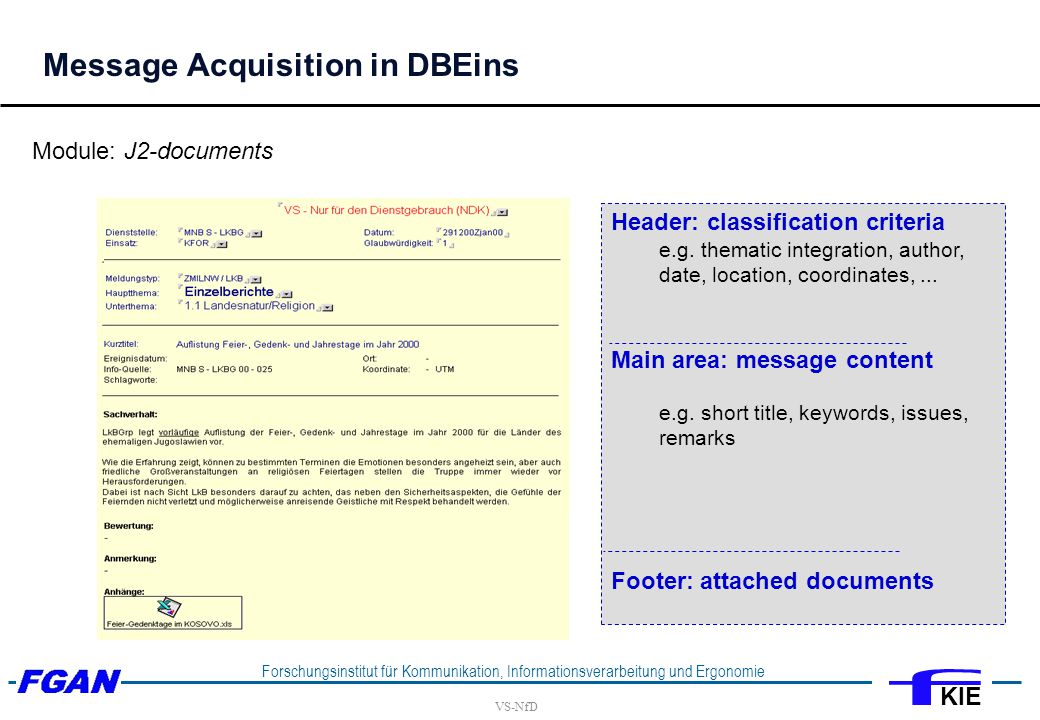 VS-NfD Forschungsinstitut für Kommunikation, Informationsverarbeitung und Ergonomie KIE Message Acquisition in DBEins Header: classification criteria e.g.