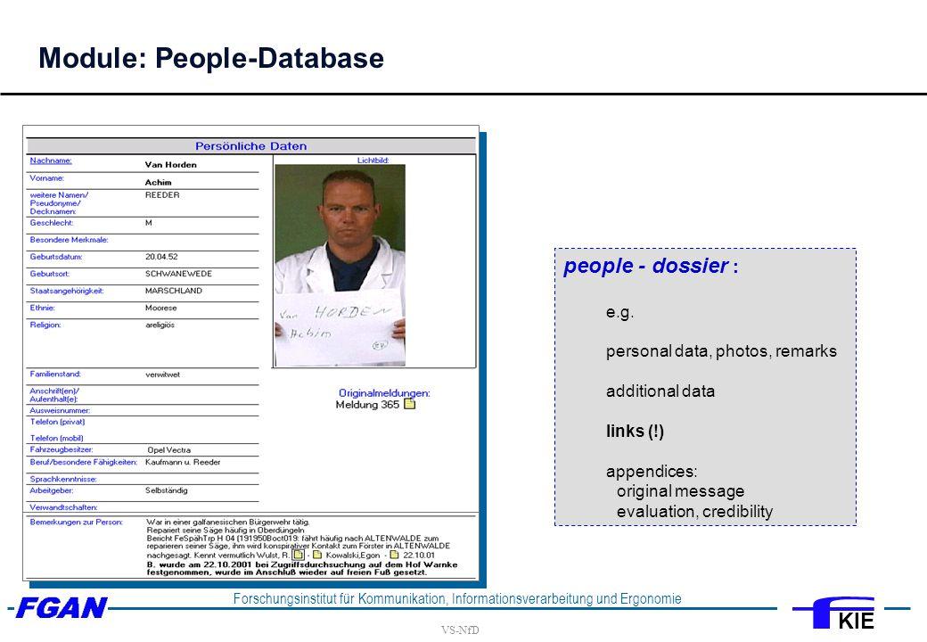 VS-NfD Forschungsinstitut für Kommunikation, Informationsverarbeitung und Ergonomie KIE people - dossier : e.g.
